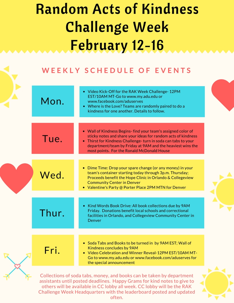 Random Acts of Kindess Week Schedule